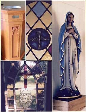 Stained Glass Windows - Virgin Mary Statue